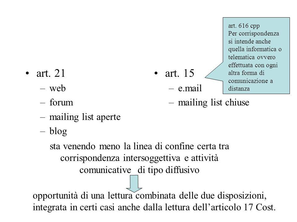 art.21 –web –forum –mailing list aperte –blog art.
