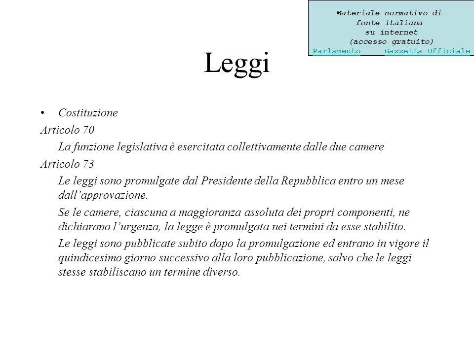 Leggi Costituzione Articolo 70 La funzione legislativa è esercitata collettivamente dalle due camere Articolo 73 Le leggi sono promulgate dal Presidente della Repubblica entro un mese dallapprovazione.