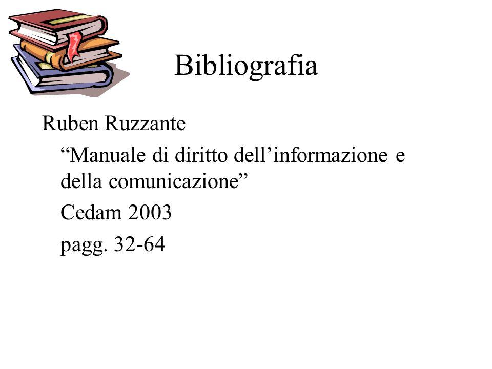 Bibliografia Ruben Ruzzante Manuale di diritto dellinformazione e della comunicazione Cedam 2003 pagg.