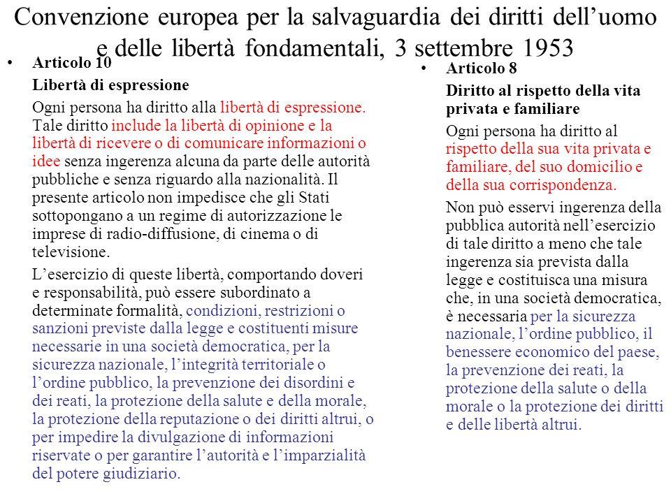 Convenzione europea per la salvaguardia dei diritti delluomo e delle libertà fondamentali, 3 settembre 1953 Articolo 10 Libertà di espressione Ogni persona ha diritto alla libertà di espressione.