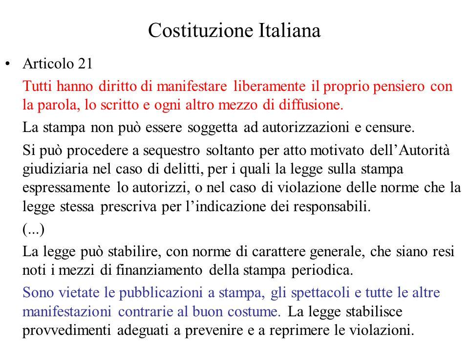 Costituzione Italiana Articolo 21 Tutti hanno diritto di manifestare liberamente il proprio pensiero con la parola, lo scritto e ogni altro mezzo di diffusione.