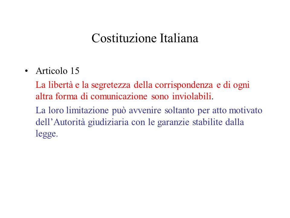 Costituzione Italiana Articolo 15 La libertà e la segretezza della corrispondenza e di ogni altra forma di comunicazione sono inviolabili.