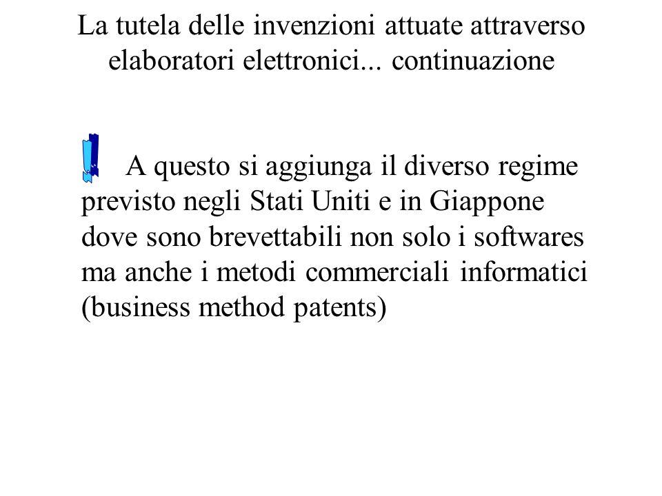 La tutela delle invenzioni attuate attraverso elaboratori elettronici...