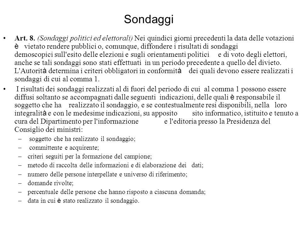 Sondaggi Art. 8.