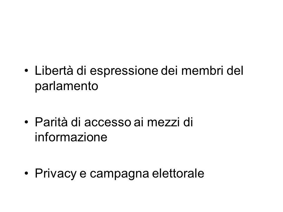 Libertà di espressione dei membri del parlamento Parità di accesso ai mezzi di informazione Privacy e campagna elettorale