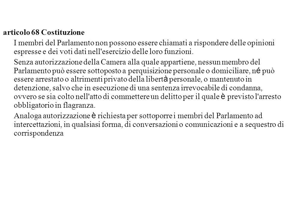 articolo 68 Costituzione I membri del Parlamento non possono essere chiamati a rispondere delle opinioni espresse e dei voti dati nell esercizio delle loro funzioni.