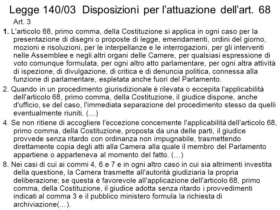Legge 140/03 Disposizioni per lattuazione dellart.