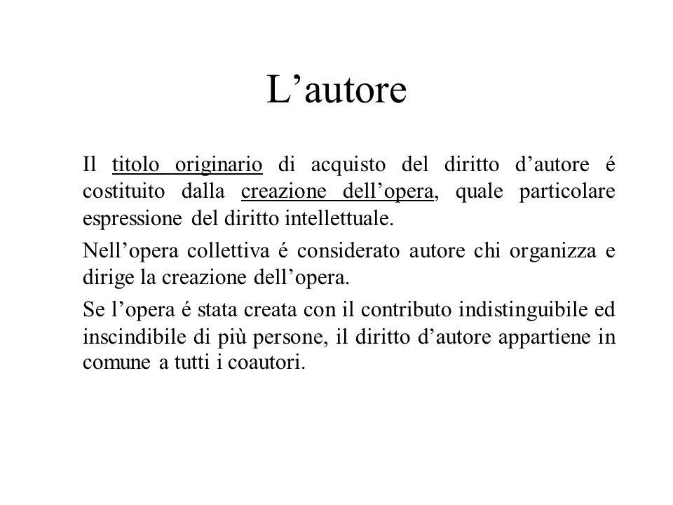 Lautore Il titolo originario di acquisto del diritto dautore é costituito dalla creazione dellopera, quale particolare espressione del diritto intellettuale.