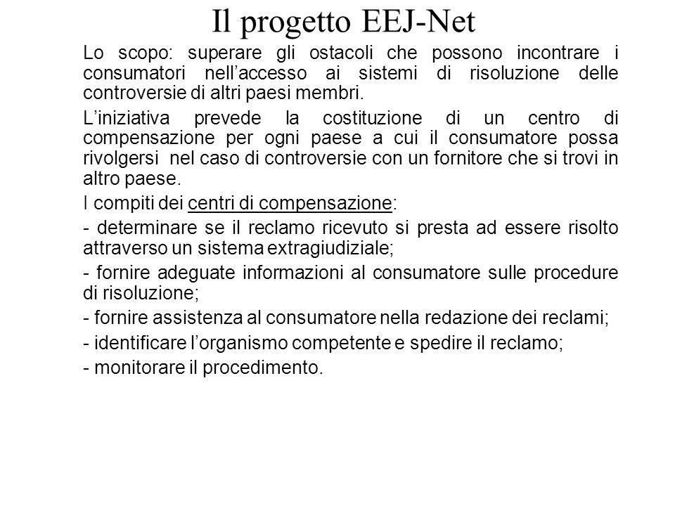 Il progetto EEJ-Net Lo scopo: superare gli ostacoli che possono incontrare i consumatori nellaccesso ai sistemi di risoluzione delle controversie di altri paesi membri.