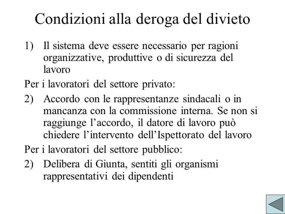 Condizioni alla deroga del divieto 1)Il sistema deve essere necessario per ragioni organizzative, produttive o di sicurezza del lavoro Per i lavorator