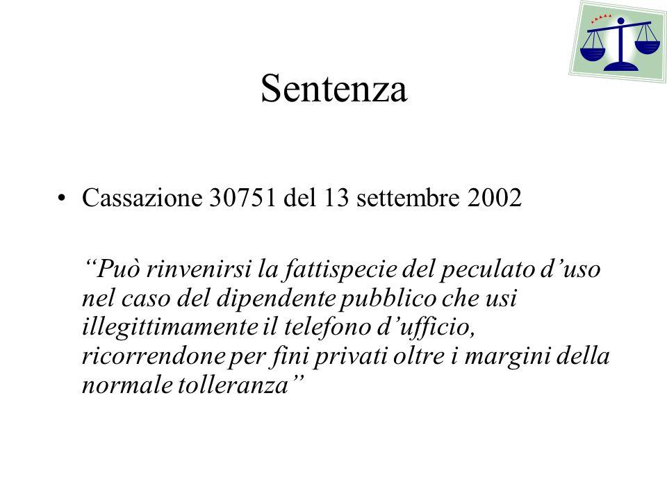 Sentenza Cassazione 30751 del 13 settembre 2002 Può rinvenirsi la fattispecie del peculato duso nel caso del dipendente pubblico che usi illegittimame