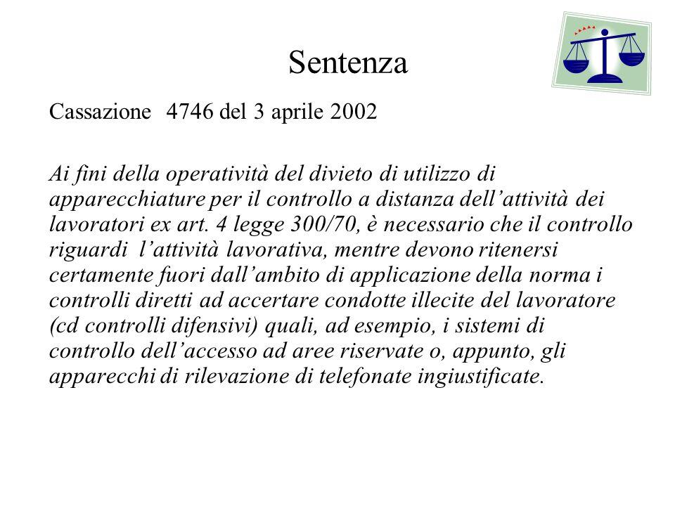 Cassazione 4746 del 3 aprile 2002 Ai fini della operatività del divieto di utilizzo di apparecchiature per il controllo a distanza dellattività dei la