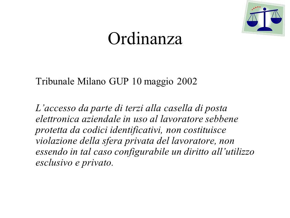 Ordinanza Tribunale Milano GUP 10 maggio 2002 Laccesso da parte di terzi alla casella di posta elettronica aziendale in uso al lavoratore sebbene prot