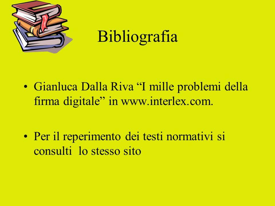 Bibliografia Gianluca Dalla Riva I mille problemi della firma digitale in www.interlex.com. Per il reperimento dei testi normativi si consulti lo stes