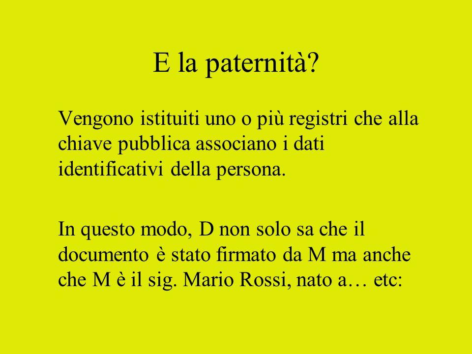 E la paternità? Vengono istituiti uno o più registri che alla chiave pubblica associano i dati identificativi della persona. In questo modo, D non sol