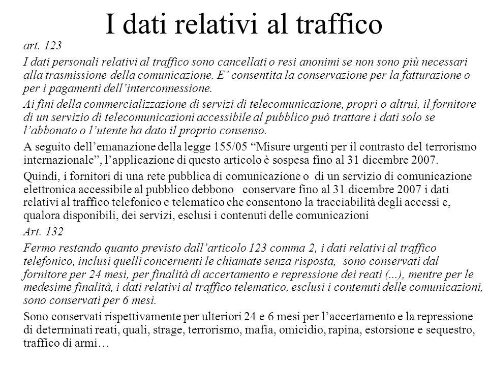 I dati relativi al traffico art.