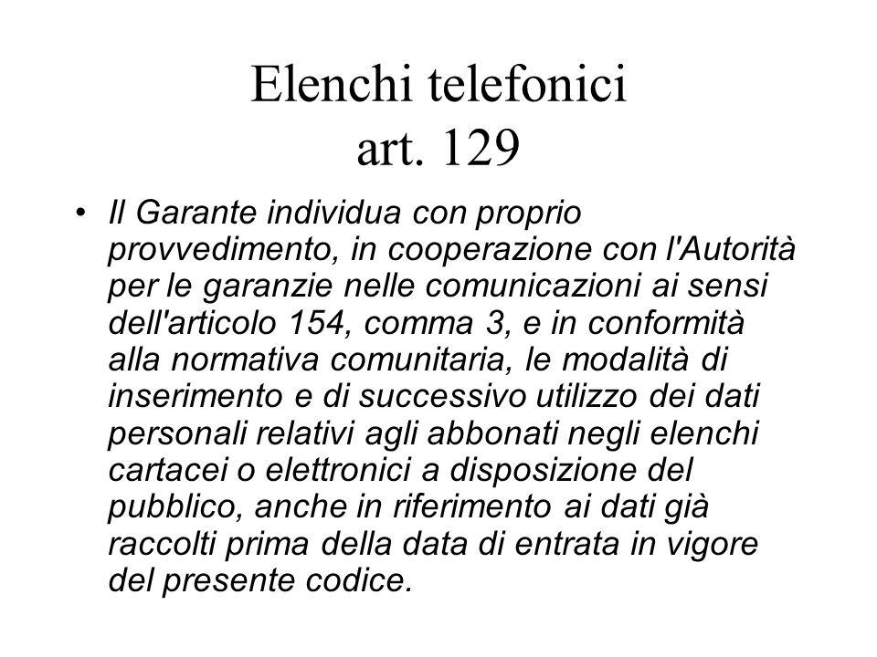 Elenchi telefonici art.