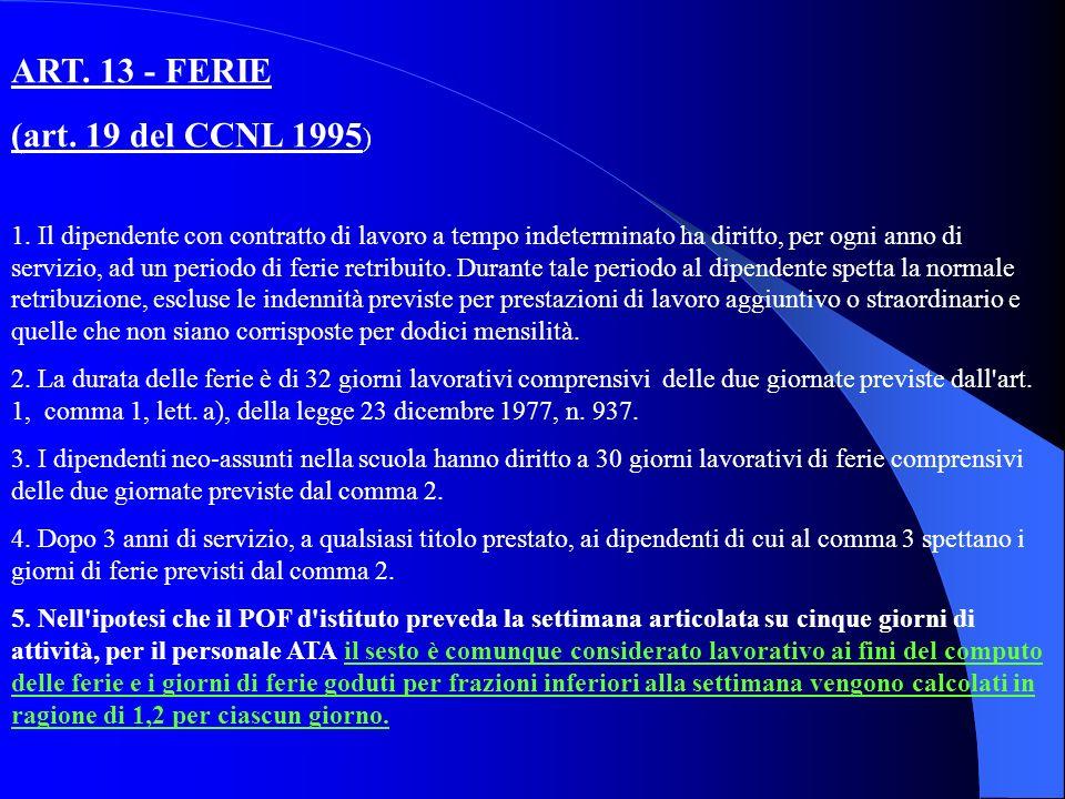 ART. 13 - FERIE (art. 19 del CCNL 1995 ) 1.