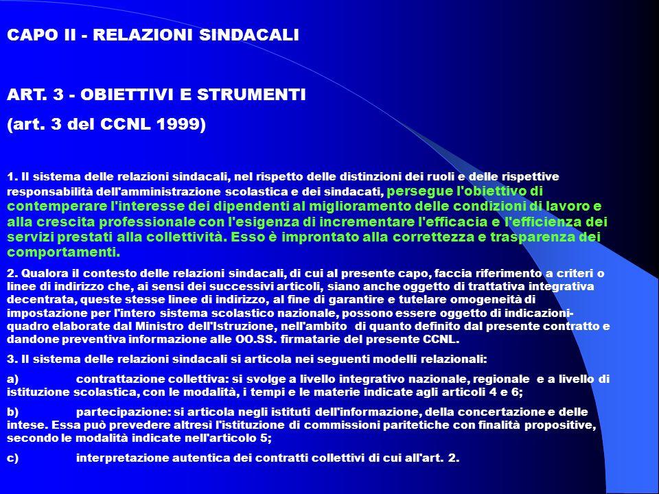 CAPO II - RELAZIONI SINDACALI ART. 3 - OBIETTIVI E STRUMENTI (art.