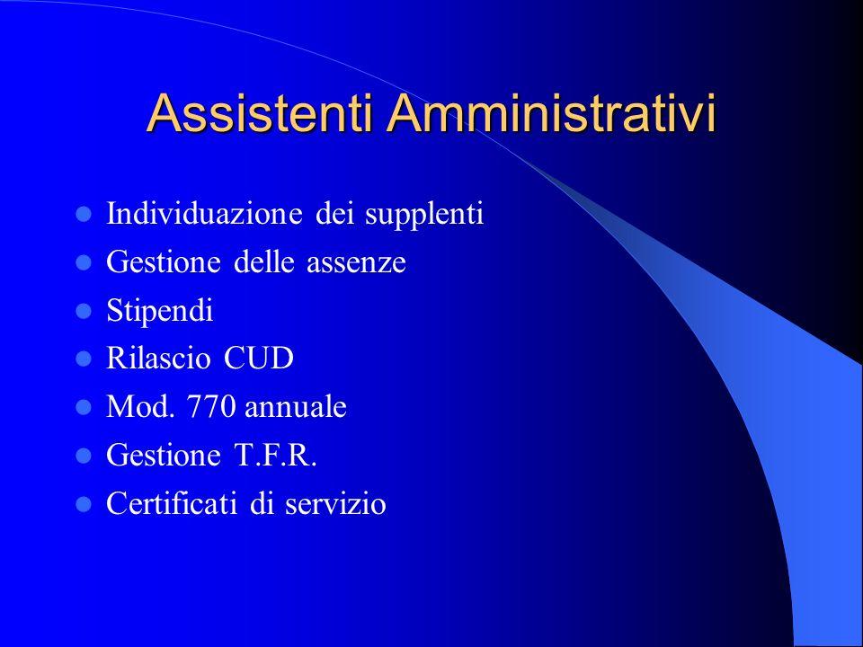 Assistenti Amministrativi Individuazione dei supplenti Gestione delle assenze Stipendi Rilascio CUD Mod.