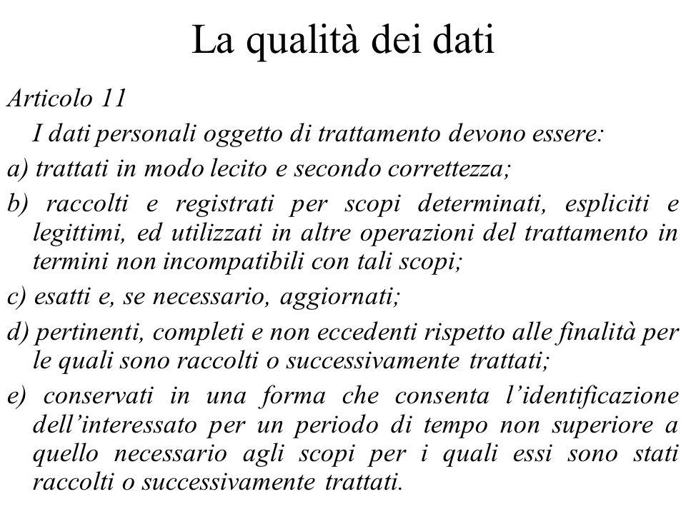 La qualità dei dati Articolo 11 I dati personali oggetto di trattamento devono essere: a) trattati in modo lecito e secondo correttezza; b) raccolti e