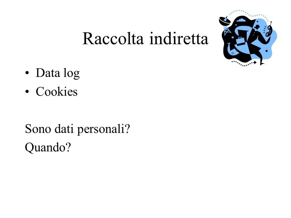 Raccolta indiretta Data log Cookies Sono dati personali? Quando?