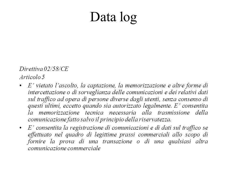 Data log Direttiva 02/58/CE Articolo 5 E vietato lascolto, la captazione, la memorizzazione e altre forme di intercettazione o di sorveglianza delle c