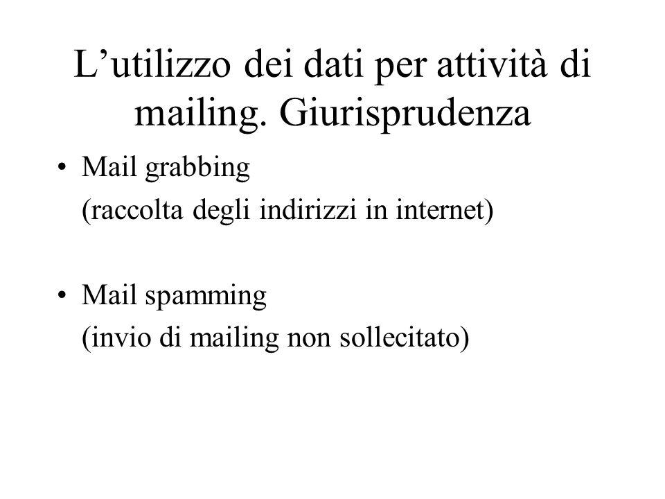 Lutilizzo dei dati per attività di mailing. Giurisprudenza Mail grabbing (raccolta degli indirizzi in internet) Mail spamming (invio di mailing non so