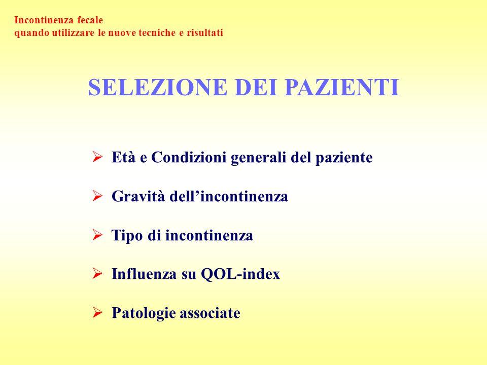 SELEZIONE DEI PAZIENTI Età e Condizioni generali del paziente Gravità dellincontinenza Tipo di incontinenza Influenza su QOL-index Patologie associate