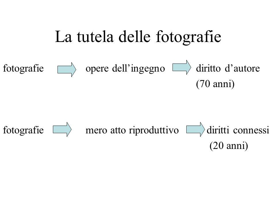 La tutela delle fotografie fotografieopere dellingegnodiritto dautore (70 anni) fotografiemero atto riproduttivo diritti connessi (20 anni)