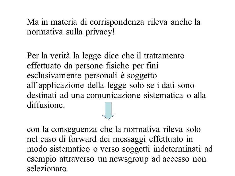 Ma in materia di corrispondenza rileva anche la normativa sulla privacy.