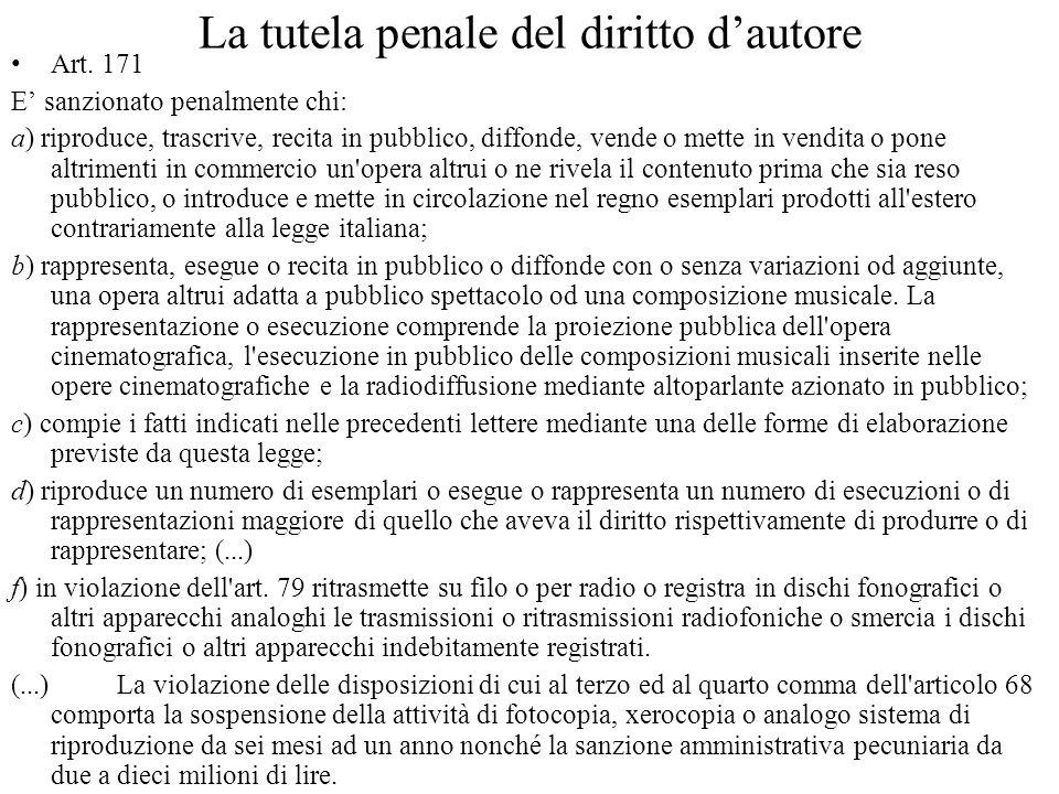 La tutela penale del diritto dautore Art.