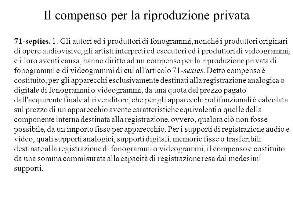Il compenso per la riproduzione privata 71-septies.