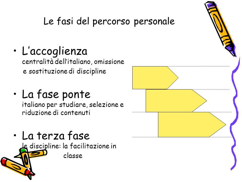 Le fasi del percorso personale Laccoglienza centralità dellitaliano, omissione e sostituzione di discipline La fase ponte italiano per studiare, selez
