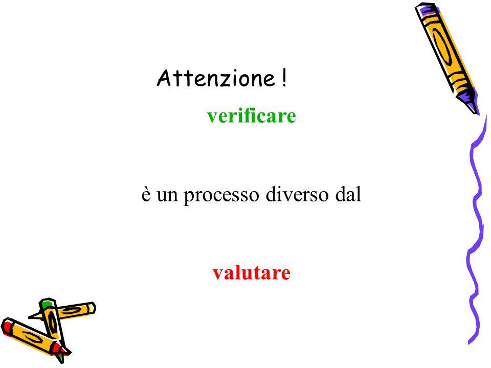 Attenzione ! verificare è un processo diverso dal valutare