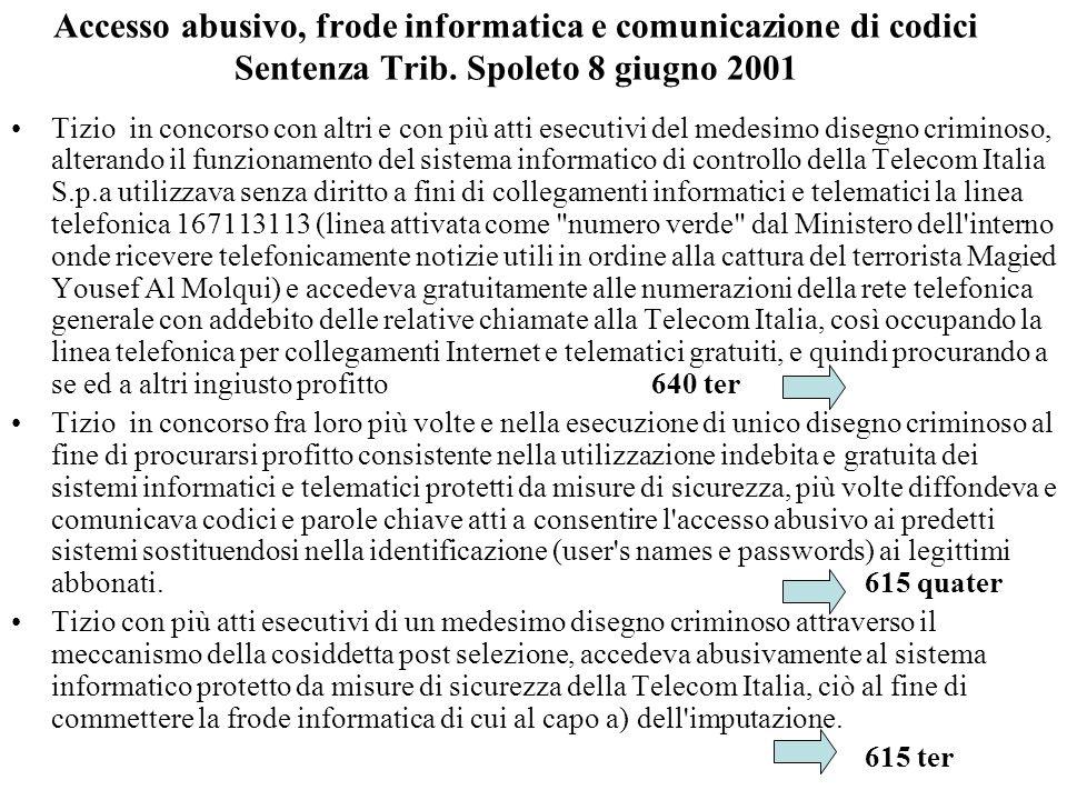 Accesso abusivo, frode informatica e comunicazione di codici Sentenza Trib. Spoleto 8 giugno 2001 Tizio in concorso con altri e con più atti esecutivi