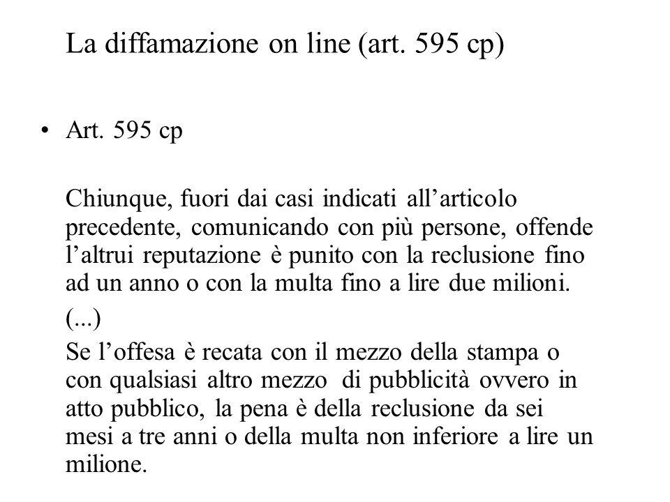 La diffamazione on line (art. 595 cp) Art. 595 cp Chiunque, fuori dai casi indicati allarticolo precedente, comunicando con più persone, offende laltr