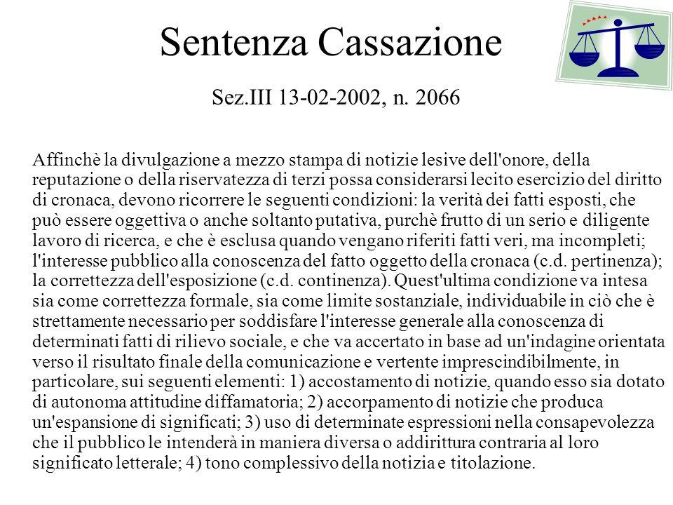 Sentenza Cassazione Sez.III 13-02-2002, n. 2066 Affinchè la divulgazione a mezzo stampa di notizie lesive dell'onore, della reputazione o della riserv