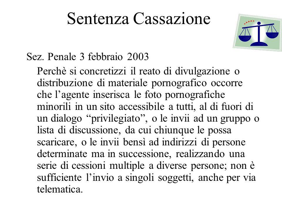 Sentenza Cassazione Sez. Penale 3 febbraio 2003 Perchè si concretizzi il reato di divulgazione o distribuzione di materiale pornografico occorre che l