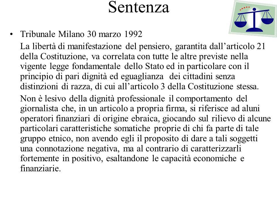 Sentenza Tribunale Milano 30 marzo 1992 La libertà di manifestazione del pensiero, garantita dallarticolo 21 della Costituzione, va correlata con tutt