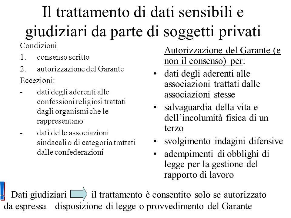 Il trattamento di dati sensibili e giudiziari da parte di soggetti privati Condizioni 1.consenso scritto 2.autorizzazione del Garante Eccezioni: - dat