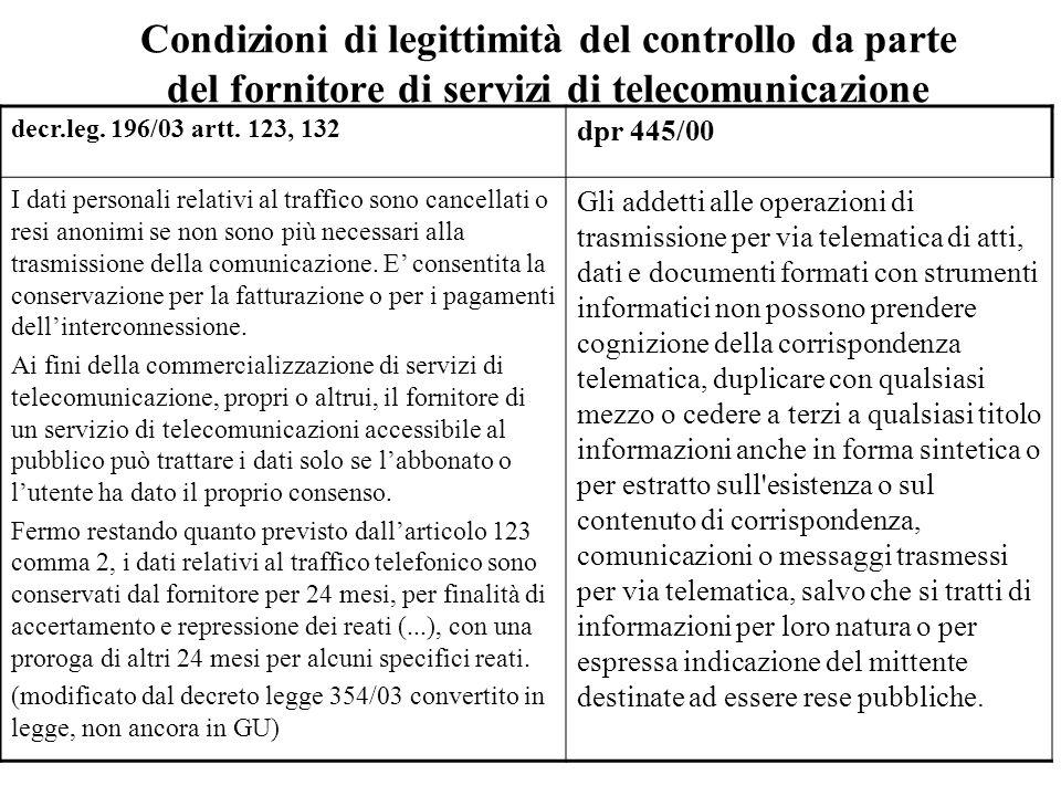 Condizioni di legittimità del controllo da parte del fornitore di servizi di telecomunicazione decr.leg. 196/03 artt. 123, 132 dpr 445/00 I dati perso