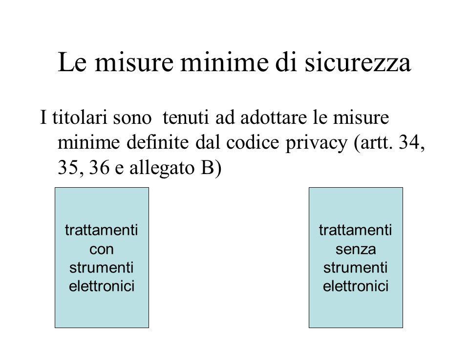 Le misure minime di sicurezza I titolari sono tenuti ad adottare le misure minime definite dal codice privacy (artt. 34, 35, 36 e allegato B) trattame