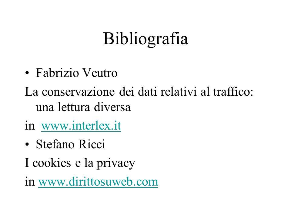 Bibliografia Fabrizio Veutro La conservazione dei dati relativi al traffico: una lettura diversa in www.interlex.itwww.interlex.it Stefano Ricci I cookies e la privacy in www.dirittosuweb.comwww.dirittosuweb.com