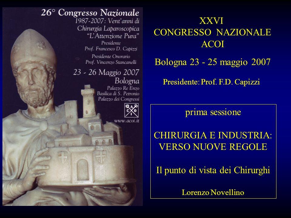 XXVI CONGRESSO NAZIONALE ACOI Bologna 23 - 25 maggio 2007 Presidente: Prof. F.D. Capizzi prima sessione CHIRURGIA E INDUSTRIA: VERSO NUOVE REGOLE Il p