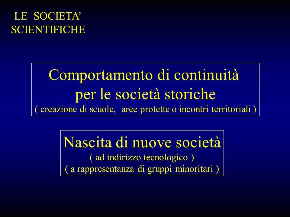 LE SOCIETA SCIENTIFICHE Comportamento di continuità per le società storiche ( creazione di scuole, aree protette o incontri territoriali ) Nascita di
