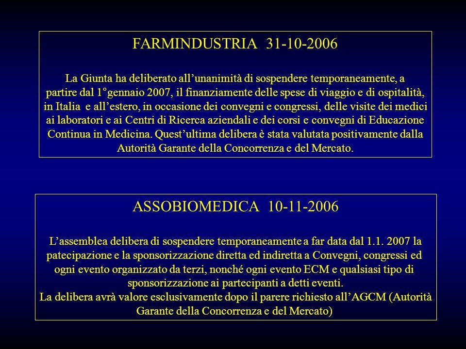 FARMINDUSTRIA 31-10-2006 La Giunta ha deliberato allunanimità di sospendere temporaneamente, a partire dal 1°gennaio 2007, il finanziamente delle spes