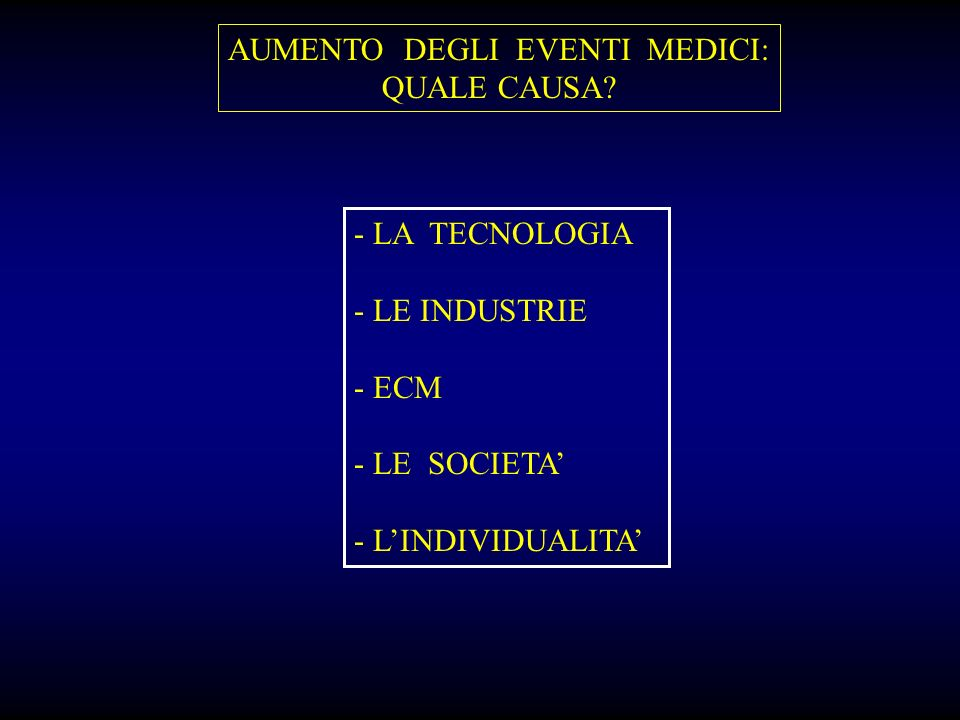 AUMENTO DEGLI EVENTI MEDICI: QUALE CAUSA? - LA TECNOLOGIA - LE INDUSTRIE - ECM - LE SOCIETA - LINDIVIDUALITA