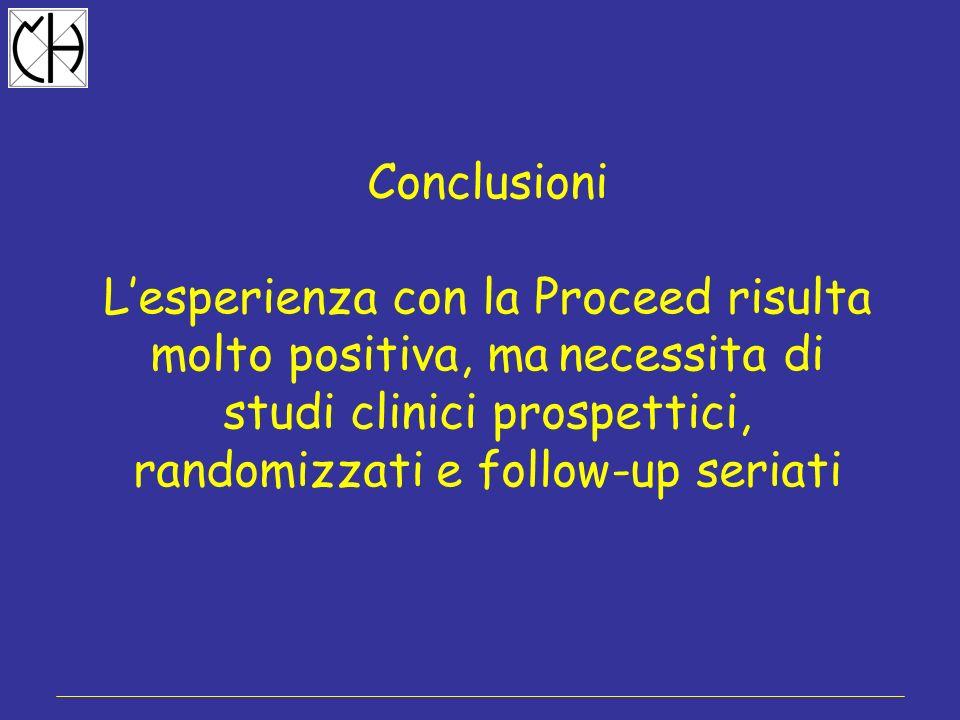 Conclusioni Lesperienza con la Proceed risulta molto positiva, ma necessita di studi clinici prospettici, randomizzati e follow-up seriati