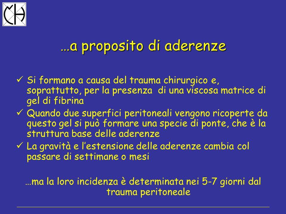 …a proposito di aderenze Si formano a causa del trauma chirurgico e, soprattutto, per la presenza di una viscosa matrice di gel di fibrina Quando due